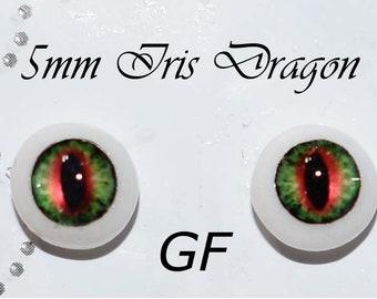 Hand Made Dragon Eyes 8mm - Green Fantasy GF- Fantasy - Character - Creature - Reptile OOAK