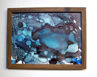 """Hand painted  """"The Blues"""" in wood frame"""