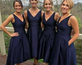 Elizabeth Stone, 50s Bridemaid Dress V Neckline, High-Low hemline.