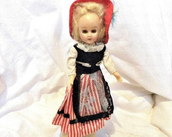 """1950's Doll - 7"""" Costume Doll - Girl with Red Hat"""