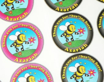 Bumble Bee Stickers. Bee Party Stickers For Bee Shower, Bee Birthday Party. Can Customize to Your Party Theme
