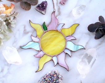 The Pastel Sunburst, sun, moon, stained glass, home decor, garden decor, gifts for her, hippie, bohemian, positive, uplifting