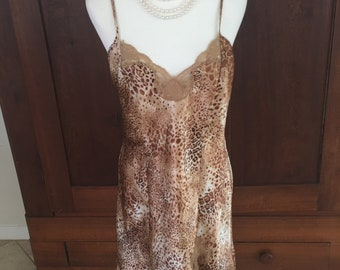 S / Leopard Print / Chemise / Slip Dress / Small