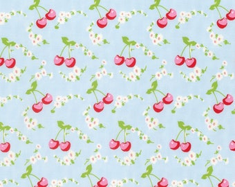 Shabby Chic Blue Cherry Cotton Fabric