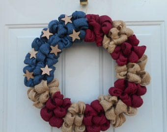 American Flag wreath   Americana wreath Labor day wreath, Veterans Day wreath burlap flag wreath Patriotic burlap wreath RTS