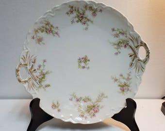 Haviland Limoges handled tidbit plate lovely pink floral pattern Wedding Bridal Shower