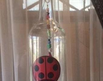 Ladybug Recycled Liquor Bottle Wind Chime