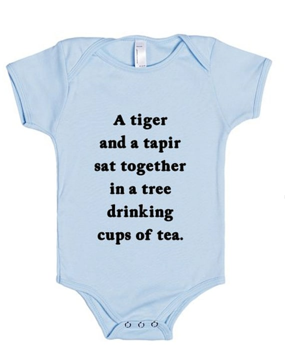 Baby One Piece / Bodysuit -  Light Blue - The Letter T - by Oliver Lake - iOTA iLLUSTRATION