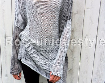 Roseuniquestyle  Loose /Oversized / Slouchy knit sweater. Chunky, loose knit tunic. Merino wool sweater. Womens sweaters.
