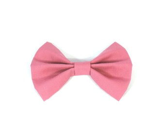 Rose Fabric Bow Hair Clip or Bow Tie - Pink Hair Bow - dainty and Dapper