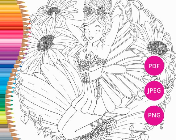 Fairy Coloring Pages Printable Faerie Page