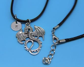 Dragon with  initial Charm Necklace War Cord with  Dragon Charm Necklace Personalized Initial Necklace