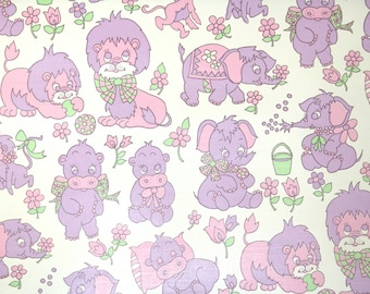 Retro Wallpaper by the Yard 70s Vintage Wallpaper - 1970s Childrens Nursery Wallpaper Pink and Purple Elephants Hippos Rhinos and Monkeys