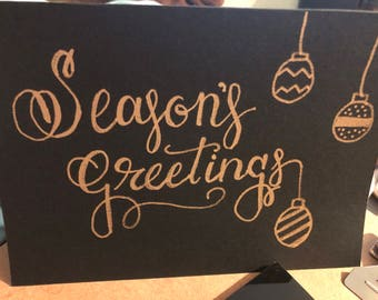 5 Seasons Greetings Card for 15 in black and metallic gold
