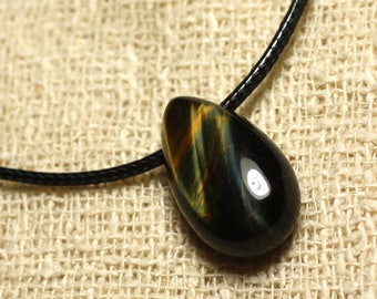Stone - Tiger eye and Falcon drop 25mm pendant necklace