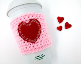 Valentine's Day Heart Doily Cup Cozy - vintage, crochet cup cozy, coffee cozy, cup band, coffee cup cozy, tea sleeve, cup cover, tea cozy