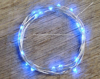 Blue LED Battery Operated Fairy Lights, Rustic Wedding Decor, Room Decor, 6.6 ft Silver Wire Blue
