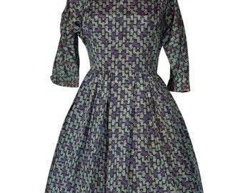Original Vintage 1950's Rose Flower Novelty Print Rayon Dress