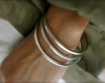 Set of 3  Sterling silver square bangle bracelets