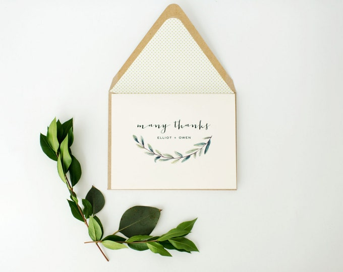 greenery thank you cards / wedding thank you cards / personalized / stationery / card set / lined envelope / winery olive branch rustic