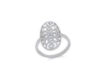 Sterling Silver oval fancy ring. index finger ring.
