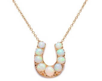 Antique Opal Horseshoe Necklace on a 14 KT Gold Chain