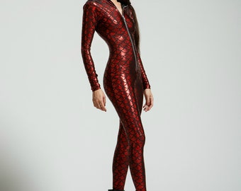 Red Mermaid Holographic Bodysuit- Free Shipping
