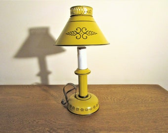 Vintage French Country Tole Lamp - Sunny Yellow Accent Lamp - Desk Lamp - Bedroom Lamp -Toleware Lamp - Metal Shade - Cottage Decor