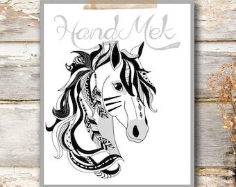 Horse Art Printable ,Animals Art Printable, Digital Art Printable, animal clipart, Instant Download Art