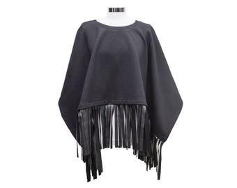 Black cloak with faux leather fringe / Black Elegant poncho