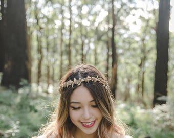 gold flower crown // metallic gold flower crown / gold wedding flower crown / golden floral headpiece / woodland golden hair piece