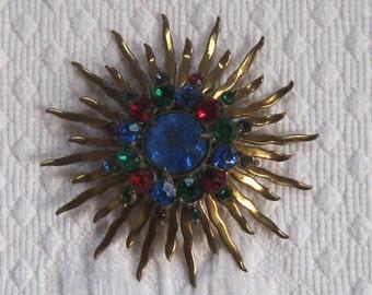 Czech Glass Brooch . sun brooch . rhinestone sun brooch . Sunday morning brooch