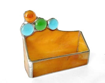 Burnt Orange Business Card Holder Office Stained Glass Desk Accessories Handmade OOAK