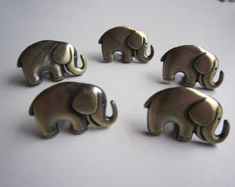 5 bronze tone elephant shank buttons