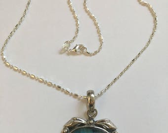 Vintage Sterling Blue Stone Pendant on Bead Chain Necklace