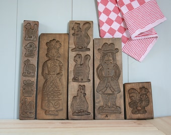 Wooden Cookie Molds  / Speculaas plank / Vintage Dutch