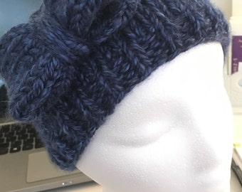 Handknit Bow Headband- Multiple Colors and Sizes Available