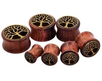 Tree of life plugs / 0 & 00 / wood plugs /  ear tunnel / wood gauges / wood stretchers / wood expanders / handmade plugs / handcrafted plugs