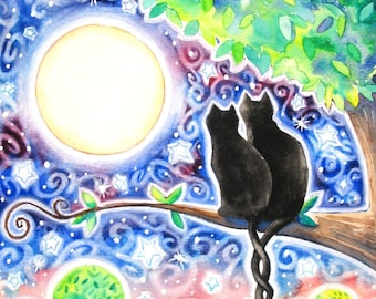 View From a Tree 8x10 Colorful Black Cat Moon Star Print