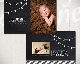 Christmas Card Template: Chalk & Lights A - 5x7 Holiday Card Template for Photographers