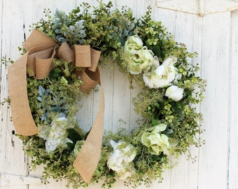 Front Door Wreath, Spring Wreath, Boxwood Wreath, Peony Wreath, Green Wreath, Outdoor Wreath, Door Wreath, Mother's Day Gift, Wedding Decor