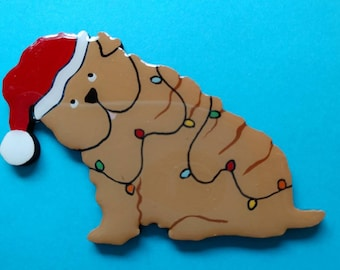 Sharpei Christmas Pin, Magnet or Ornament -Free Shipping  -Hand Painted - Shar-pei- Free Personalization Available