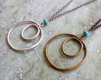 Long Necklace Extra Long Necklace Boho Necklace Bronze Metal Pendant Bohemian Long Statement Necklace