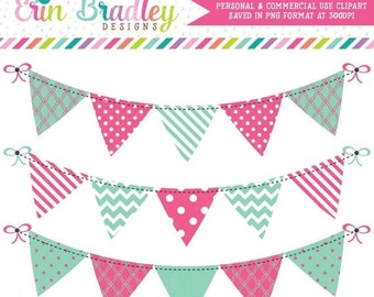 80% OFF SALE Clipart Banners Bunting Graphics Instant Download Clip Art in Pink and Blue Green Personal & Commercial Use