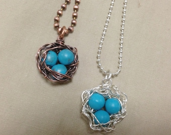 Bird's Nest Pendant/Necklace in Sterling Silver or Copper with Turquoise Blue Beads