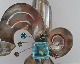1940s Sterling Silver and Aquamarine Faceted Stone Brooch Vintage 1940s Retro Jewelry Art Deco Style