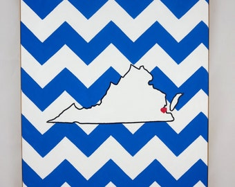 hand painted Virginia state outline with chevron background 11X14 canvas, customizable