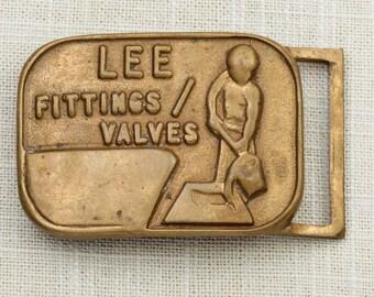 Antique Gold Toned Belt Buckle Lee Fittings Valves Vintage Belt Buckle 7F