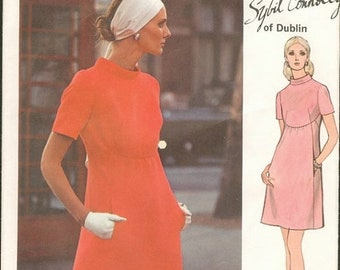 ON SALE 1970s Mod High Waisted Curved Bodice Seam Short Sleeves Vogue 2336 Sybil Connolly Designer Size 12 Bust 34 Women's Vintage Sewing Pa