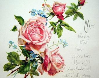Digital Download Scan Vintage Chic Pink Shabby Roses ECS Victorian